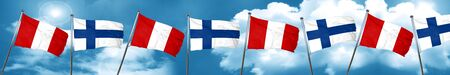 Peru flag with Finland flag, 3D rendering