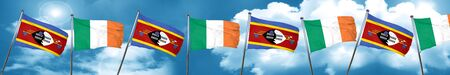 Swaziland flag with Ireland flag, 3D rendering Stock Photo