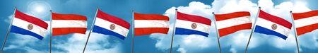 bandera de paraguay: Bandera de Paraguay con la bandera de Austria, 3D