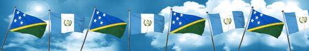 guatemalan: Solomon islands flag with Guatemala flag, 3D rendering