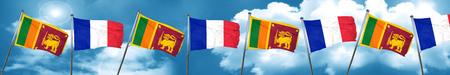 combines: Bandera de Sri lanka con la bandera de Francia, representación 3D