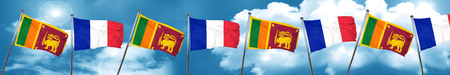 french culture: Sri lanka flag with France flag, 3D rendering
