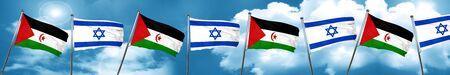 Western sahara flag with Israel flag, 3D rendering