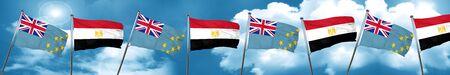 Tuvalu flag with egypt flag, 3D rendering
