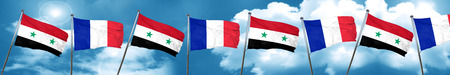 Syria flag with France flag, 3D rendering