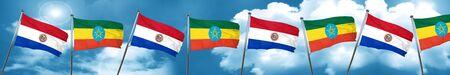 bandera de paraguay: Paraguay flag with Ethiopia flag, 3D rendering Foto de archivo