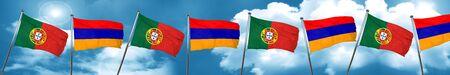 drapeau portugal: Portugal flag with Armenia flag, 3D rendering