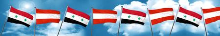 bandera de Siria con la bandera de Austria, 3D