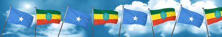 somalia: Somalia flag with Ethiopia flag, 3D rendering