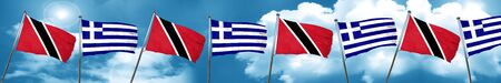 Trinidad and tobago flag with Greece flag, 3D rendering