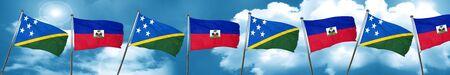 Solomon islands flag with Haiti flag, 3D rendering