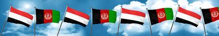 yemen: Yemen flag with afghanistan flag, 3D rendering