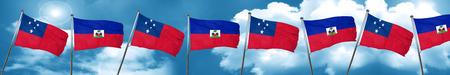 Samoa flag with Haiti flag, 3D rendering