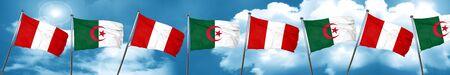 bandera de peru: Peru flag with Algeria flag, 3D rendering