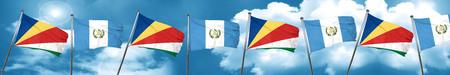 bandera de guatemala: seychelles flag with Guatemala flag, 3D rendering Foto de archivo
