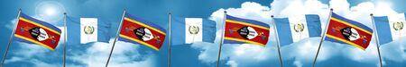 bandera de guatemala: Swaziland flag with Guatemala flag, 3D rendering