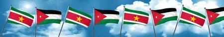 Suriname flag with Jordan flag, 3D rendering Stock Photo