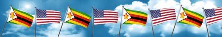 zimbabwe: Zimbabwe flag with American flag, 3D rendering