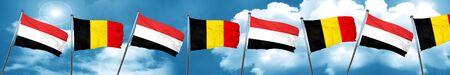 yemen: Yemen flag with Belgium flag, 3D rendering
