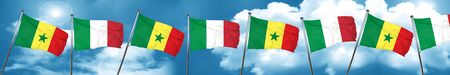 Senegal flag with Italy flag, 3D rendering