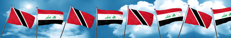 Trinidad and tobago flag with Iraq flag, 3D rendering Stock Photo