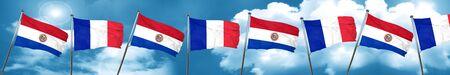 bandera de paraguay: Bandera de Paraguay con la bandera de Francia, representación 3D Foto de archivo