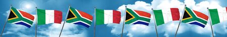 South africa flag with Italy flag, 3D rendering