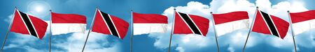 Trinidad and tobago flag with Indonesia flag, 3D rendering