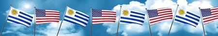 bandera de uruguay: Bandera de Uruguay con bandera estadounidense, 3D