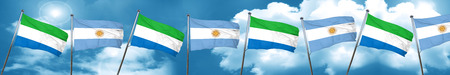 Sierra Leone flag with Argentine flag, 3D rendering