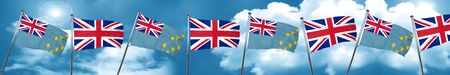Tuvalu flag with Great Britain flag, 3D rendering