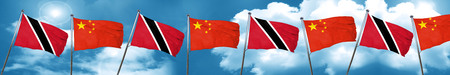 Trinidad and tobago flag with China flag, 3D rendering