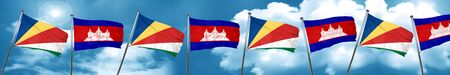 seychelles flag with Cambodia flag, 3D rendering Stock Photo