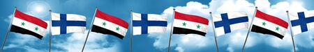 Syria flag with Finland flag, 3D rendering