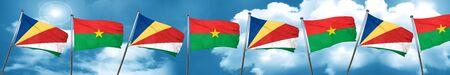 seychelles flag with Burkina Faso flag, 3D rendering