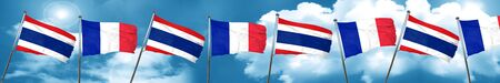 french culture: Thailand flag with France flag, 3D rendering Stock Photo