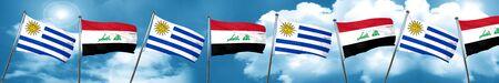 bandera de uruguay: Uruguay flag with Iraq flag, 3D rendering Foto de archivo