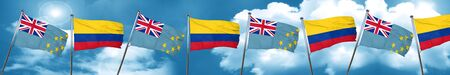 tuvalu: Tuvalu flag with Colombia flag, 3D rendering