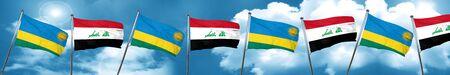iraq flag: Rwanda flag with Iraq flag, 3D rendering