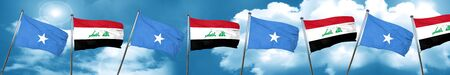 Somalia flag with Iraq flag, 3D rendering Stock Photo