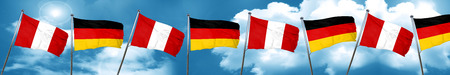 combines: Bandera de Perú con la bandera de Alemania, representación 3D