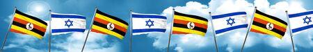 Uganda flag with Israel flag, 3D rendering