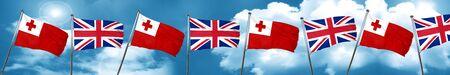 bandera de gran bretaña: Tonga flag with Great Britain flag, 3D rendering Foto de archivo