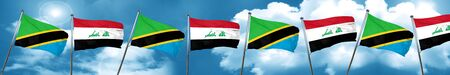 Tanzanian flag with Iraq flag, 3D rendering