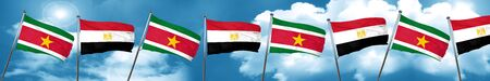 Suriname flag with egypt flag, 3D rendering