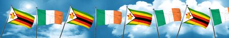 Bandera de Zimbabwe con la bandera de Irlanda, representación 3D
