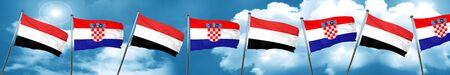 bandera de croacia: Yemen flag with Croatia flag, 3D rendering