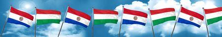 bandera de paraguay: Paraguay flag with Hungary flag, 3D rendering Foto de archivo
