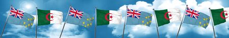 Tuvalu flag with Algeria flag, 3D rendering