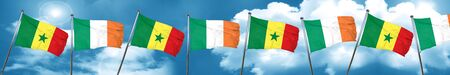 Senegal flag with Ireland flag, 3D rendering
